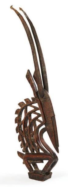 CIMIER DE DANSE «Twy wara» en bois sculpté...