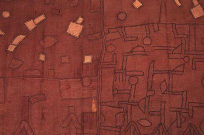 NTCHAK KUBA ZAÏRE. RDC. Tissu ocre rouge...