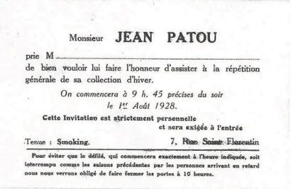 JEAN PATOU, 1928 Adieu Sagesse ROBE DU SOIR faux deux-pièces en panne de velours...