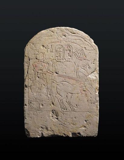 STÈLE AU NOM DE THOUTMÔSIS IV. Stèle cintrée gravée du roi Thoutmôsis IV sur un...