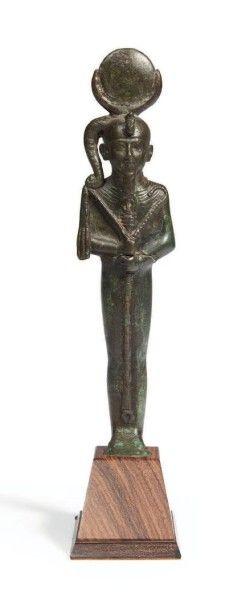 STATUETTE DE KHONSOU. Rare statuette votive...