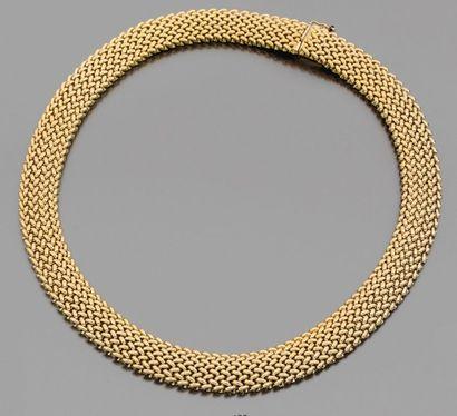COLLIER ruban d'or jaune 18K tressé. L_2,5...