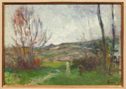 Maximilien Luce (1858-1941) Paysage animé Huile sur panneau. Signée en bas à droite....