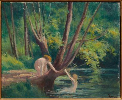 Maximilien Luce (1858-1941) Baignade à Rolleboise Huile sur toile. Signée en bas...