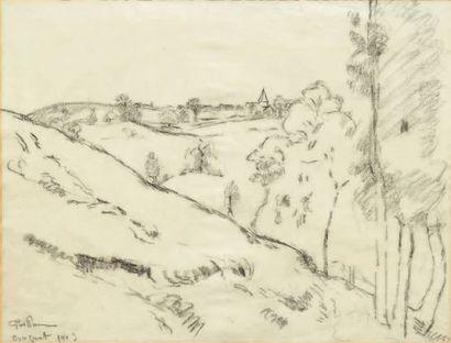 JEAN-BAPTISTE-ARMAND GUILLAUMIN (1841-1927) Vue du Crozant Crayon gras sur papier....