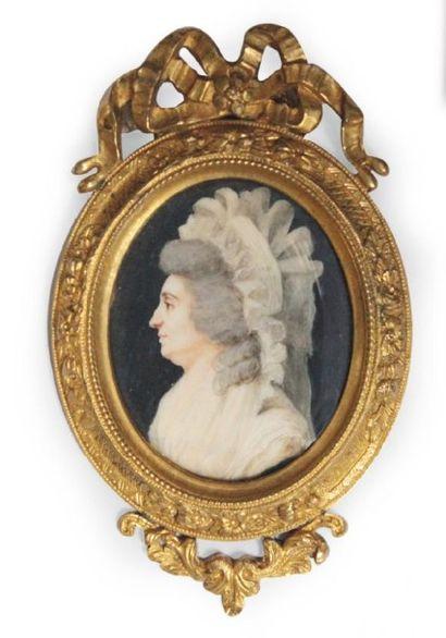 École FRANÇAISE de la fin du XVIIIe siècle Portrait de Madame Elizabeth, en buste...