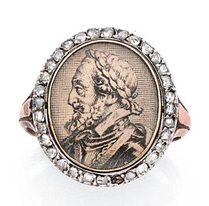 ANGE-JOSEPH AUBERT (ATTRIBUÉE À) Bague en or rose 14K, sertie de diamants taillés...