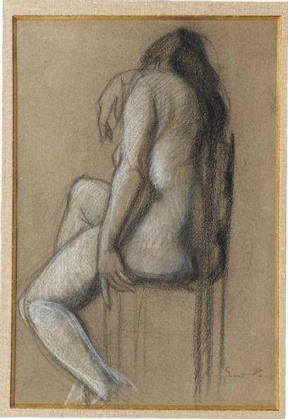 ACHILLE-EMILE OTHON FRIESZ (1879-1949) Femme nue de dos Fusain et craie blanche sur...