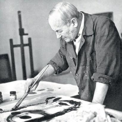 Joan MIRO (1893 - 1983) Sans titre Aquarelle et encre sur papier Signée et dédicacée...