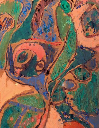 Pierre Alechinsky (né en 1927) Dans les branches, 1965 Acrylique sur papier marouflé...