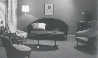 KERTSIN HORLIN-HOLMQUIST (1925-1997) Suède Fauteuil à haut dossier modèle «Paradiset»...