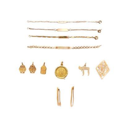 6149/2 Lot de bijoux en or 18K. Poids brut:...