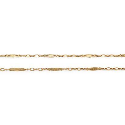 6149/5 Sautoir en or jaune à maillons ajourés. L_152 cm. Poids: 55,3 g