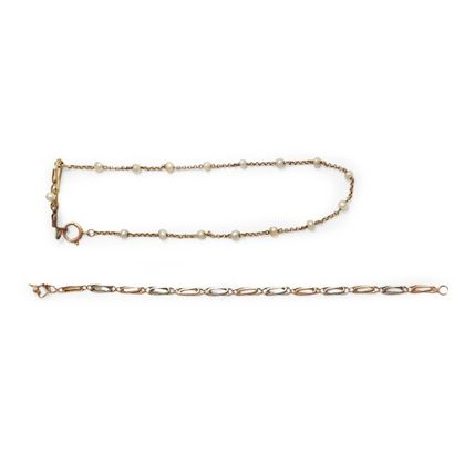 6149/17 Lot en or 18K comprenant: un bracelet...