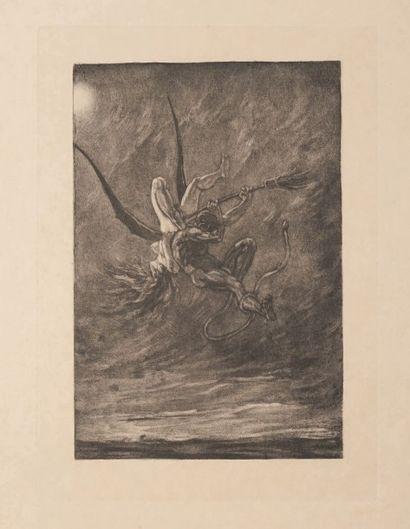Félicien Rops (1833-1898) L'enlèvement Sur papier Japon Grande planche de la série...