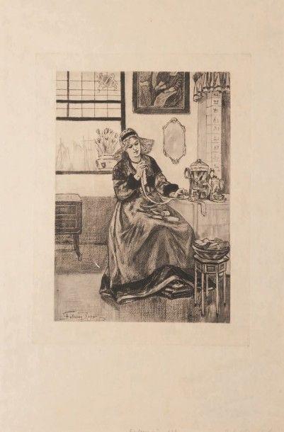 Félicien Rops (1833-1898) La dentelière de face Sur papier Japon. E 923 H_30,5 cm...