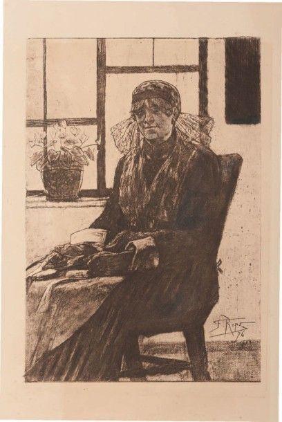 Félicien Rops (1833-1898) L'experte en dentelle Sur papier Van Gelder. Rehaussée...
