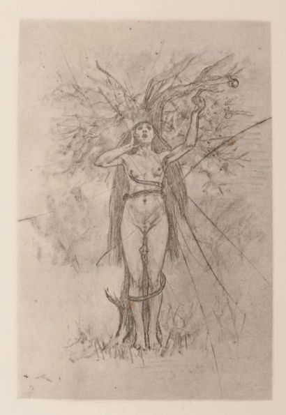 FÉLICIEN ROPS (1833- 1898) Le péché mortel Sur papier MBM Planche rayé, rare E. 438...
