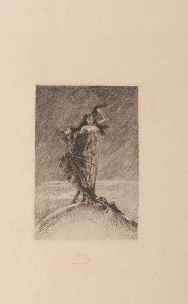Félicien Rops (1833-1898) La folie et la femme dominant la terre Sur papier Japon...