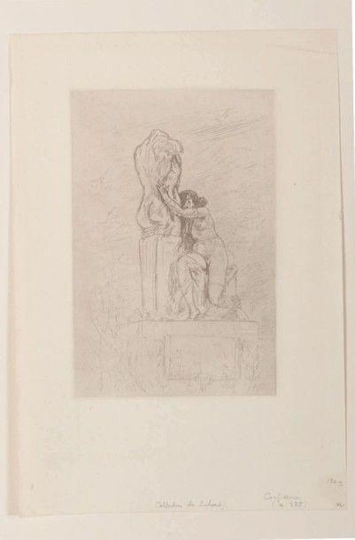 Félicien Rops (1833-1898) Confidence Sur papier vergé. R 275 H_24,8 cm L_17,7 cm...