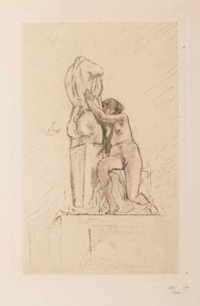 Félicien Rops (1833-1898) Confidence Gravure en couleur au repérage. Par Albert Bertrand...