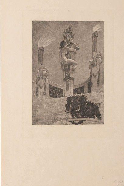 Félicien Rops (1833-1898) L'idole Sur papier Japon Grande planche de la série des...