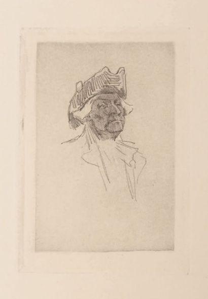 Félicien Rops (1833-1898) Vieux jeux Sur papier Japon Grandes marges H_9,7 cm L_6,5...