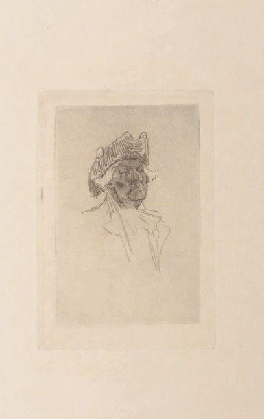 Félicien Rops (1833-1898) Vieux jeu Grande marge Sur papier Japon. E 663 H_9,5 cm...