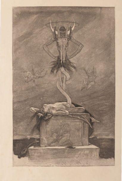 Félicien Rops (1833-1898) Le sacrifice Sur papier Japon Grande planche de la série...