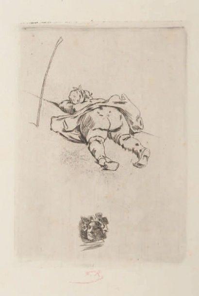 Félicien Rops (1833-1898) Bergère Sur papier Van Gelder à la couronne avec texte...