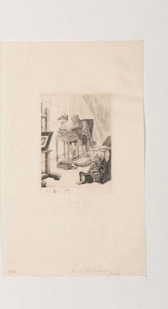 Félicien Rops (1833-1898) L'art moderne ou la lecture du grimoire Eau-forte originale...