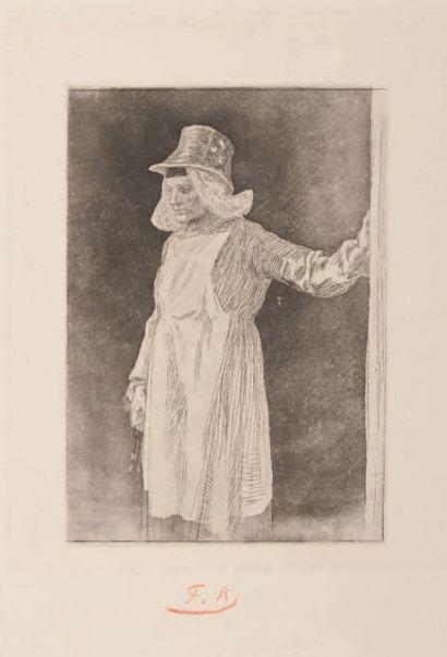 Félicien Rops (1833-1898) La servante anversoise Sur papier Japon Monogramme FR en...