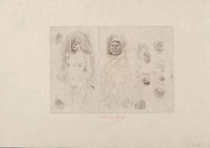 Félicien Rops (1833-1898) Femme à la tête de mort Premier tirage Signature complète...