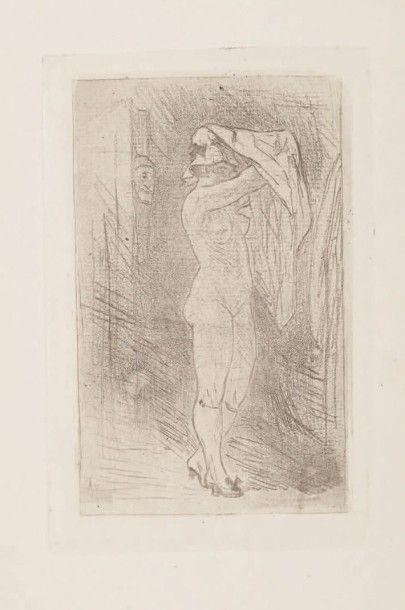 Félicien Rops (1833-1898) La toilette Sur papier vergé H_11,2 cm L_7,2 cm