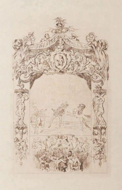 Félicien Rops (1833-1898) Le théatre Gaillard II Eau-forte. Etat intermédiaire en...