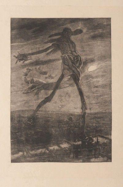 Félicien Rops (1833-1898) Satan semant l'ivraie Sur papier Japon Grande planche de...