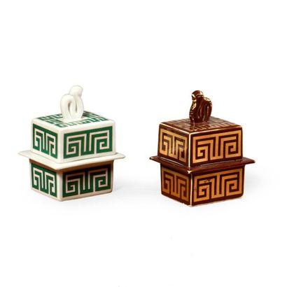 Gio PONTI (1891-1979) Deux boites modèle «159s» à décor «682» dit «Labirintesca»...