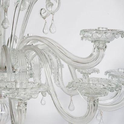 SEGUSO VETRI D'ARTE (ÉTABLIT EN 1933) Lustre monumental Verre soufflé et métal Édition...