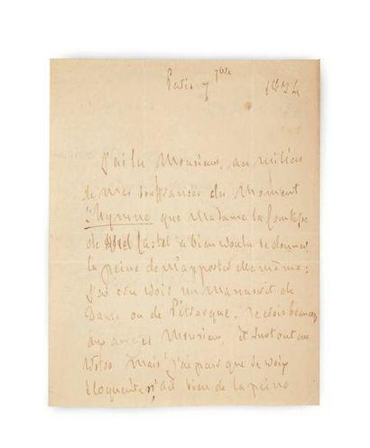 CHATEAUBRIAND François-René de (1768-1848) Lettre autographe signée, Paris 7 septembre...