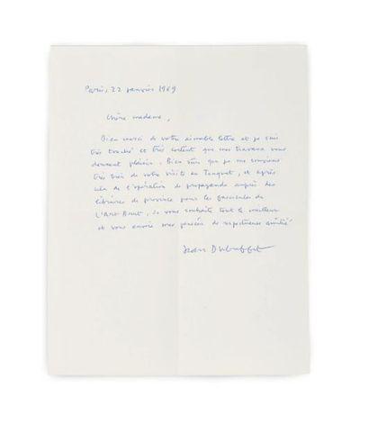 DUBUFFET Jean (1901-1985) Lettre autographe signée, Paris 22 janvier 1969, à Régine...