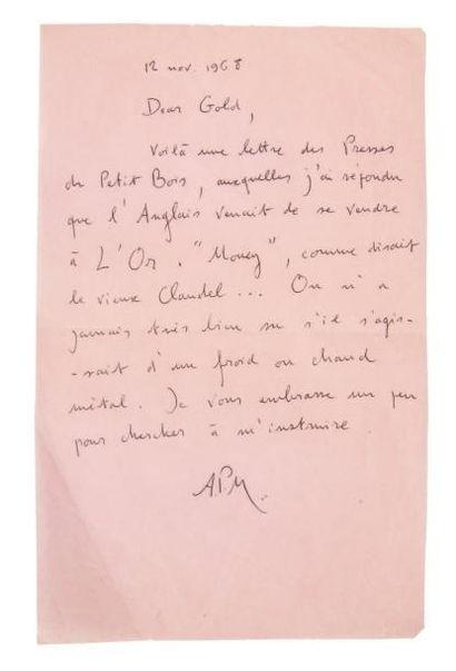 PIEYRE DE MANDIARGUES André (1909-1991) 11 Lettres autographes signées, 1967-1975,...