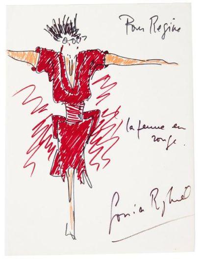 RYKIEL Sonia (née 1930) 12 DESSINS originaux dont 9 signés ou dédicacés à Régine...