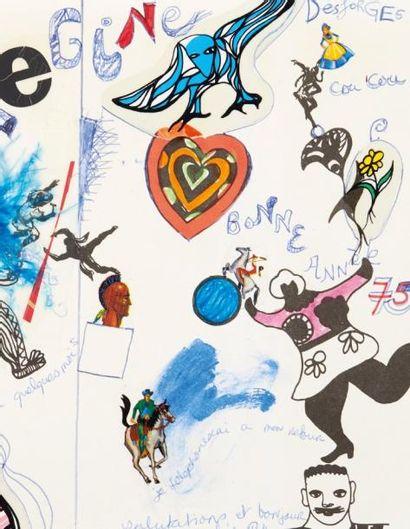 SAINT-PHALLE NIKI DE (1930-2002) Lettre autographe signée avec COLLAGES et DÉCALCOMANIES,...