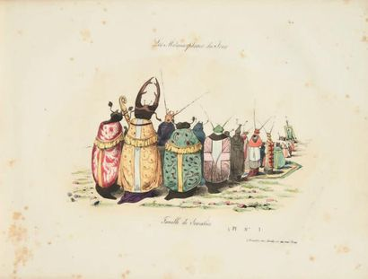 GRANDVILLE Les Métamorphoses du jour. Paris, Bulla, Martinet, [1828-1829]. Album...