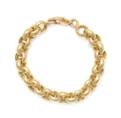 Bracelet en or jaune 18K, maillons escargot....
