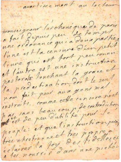 Gaspard ABEILLE (1648-1718) Abbé, poète et auteur dramatique. [AF] MANUSCRIT autographe,...
