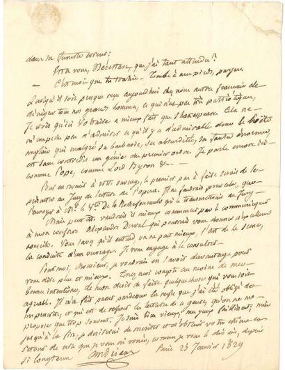 François-Guillaume ANDRIEUX [AF] L.A.S., Paris 25 janvier 1829, à ROUGET DE LISLE;...