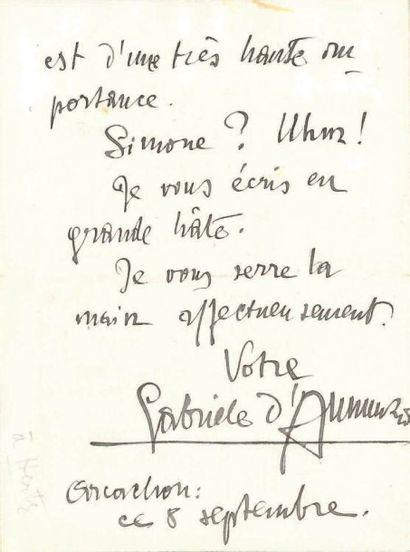 Gabriele d'ANNUNZIO (1863-1938) Écrivain italien L.A.S., Arcachon 8 septembre [1913,...