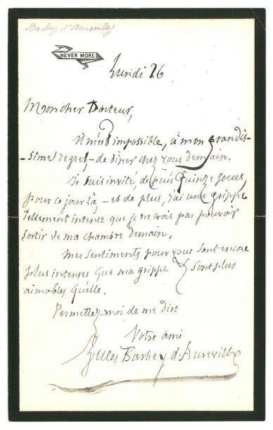 Jules BARBEY D'AUREVILLY (1808-1889)