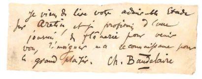 Charles BAUDELAIRE (1821-1867) Poète. L.A.S. «Ch. Baudelaire»; 1 page oblong 4 x...